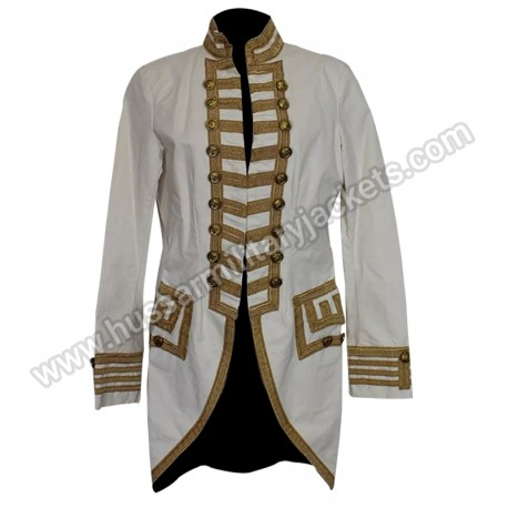 Women White Military Band jacket