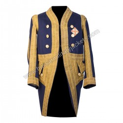 Jacket circa 1750 Medium Dark Blue with Gold Leaf Braid