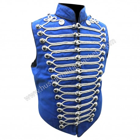 Mens Military Army Blue with Silver Braiding Hussar Waistcoat with polished brass Silver buttons in to fit chest