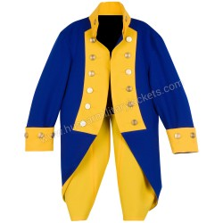 Children Deluxe General Rochambeau Revolutionary War Blue & Yellow Wool Uniform Jacket