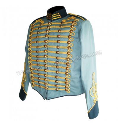 Blue steampunk military jacket with gold braiding