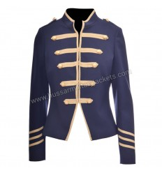 Hussar Medium Blue Wool and Gold Braid Military Jacket