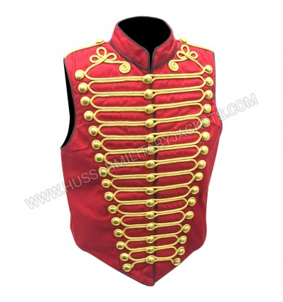 Military Army Black Red with Gold Braiding Hussar Waistcoat with Brass Buttons
