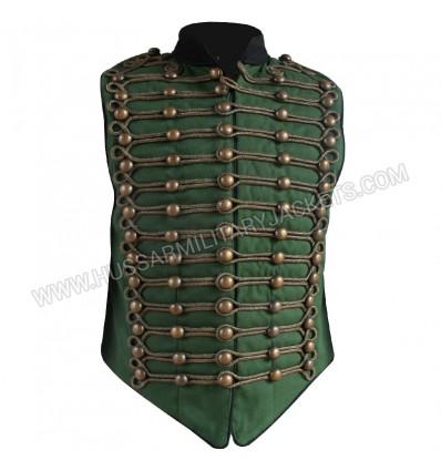 Green Military Vest Black Braid Parade Wardrobe Tunic Coat Wedding Dress