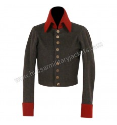 Nurse uniform Dark Gray Wool Main Body With Red Wool Collar & Cuff