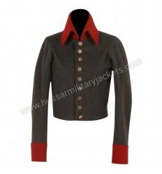 Nurse uniform Dark Gray Wool Main Body With Red Wool Collar & Cuff