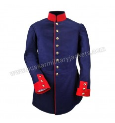 Prussian Dress Tunic Coat Medium Blue Wool With Red Wool Collar & Cuff