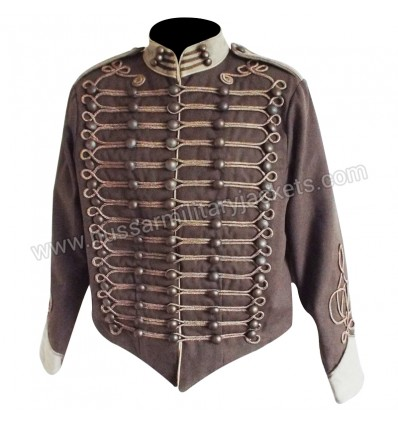 Military Parade Jacket in Brown with Beige Trim