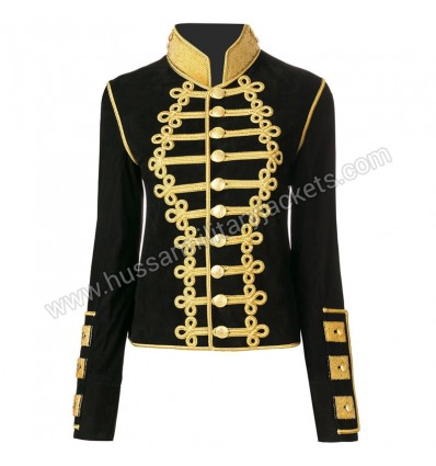 Cropped Black and gold-tone suede cropped military jacket