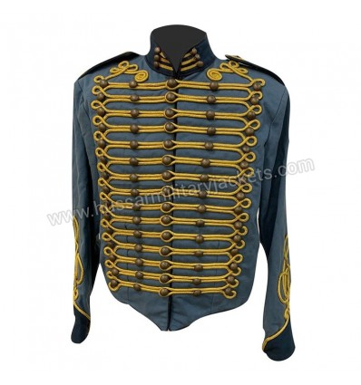 Steampunk Blue Military Jacket with gold braiding