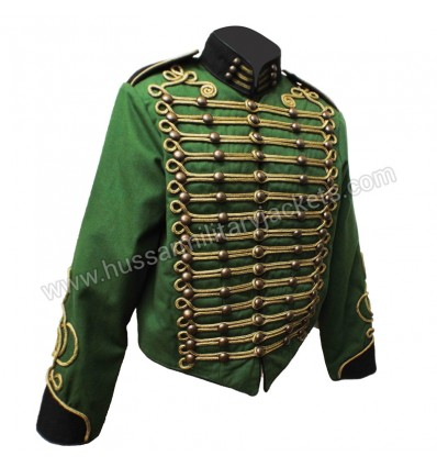 Steampunk Military Jacket by  in Green Black trim & Gold Braid decoration