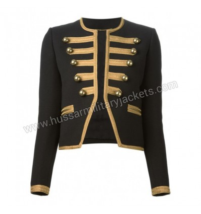 GOTHIC STYLE BLACK CROPPED OFFICER JACKET FOR WOMENS