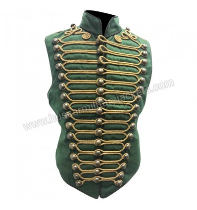 Men Steampunk  Military Army in Dull Green with Antique Gold Braiding Hussar Waistcoat