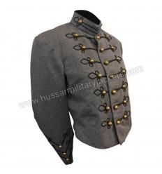 1950 Slate and Black Charcoal Wool Military Band Jacket