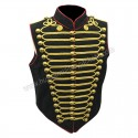 Men Steampunk Military Army Black Red with Gold Braiding Hussar Waistcoat with Brass Buttons