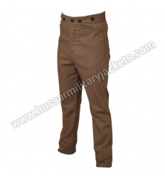 Men Historical Grady Striped Brown Cotton Trousers