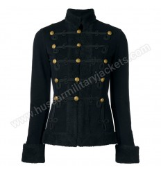 Military Black Wool With Black Braid Women Jacket