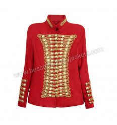 Musician Red Wool Jackets Gold Button and Braid