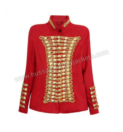 Red Wool Gold Button And Braid