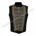 Men Black Gold Steampunk Gothic Military Sleeveless Parade Jacket