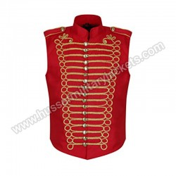 Men Red Gold Steampunk Gothic Military Sleeveless Parade Jacket