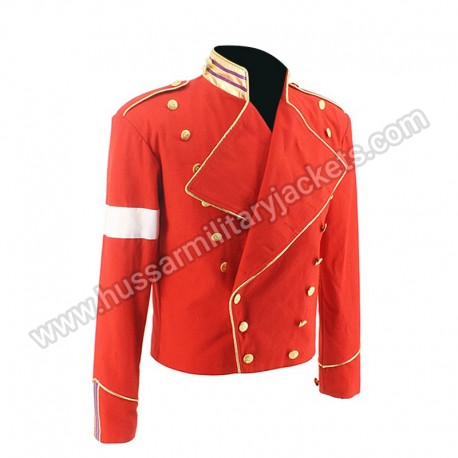 Rare MJ Michael Jackson Red Military England Style Informal Cool Jacket Outerwear