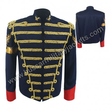 Rare Fashion Retro Punk MJ Michael Jackson Dark Blue Military Army Royal Retro England Style Men's Threading Jacket 1980S