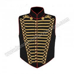 Steam punk Military Waistcoat Black and Gold