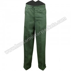 Fishtail Back Trousers Green Herringbone