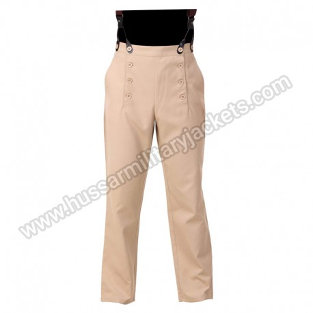 Steampunk Victorian Cosplay Costume Architect Men Pants Khaki Trousers