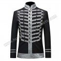 Men Black Suits Notched Lapel Wedding Party Cotton Dinner Vintage Jacket