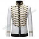 Men White Suits Notched Lapel Wedding Party Cotton Dinner Vintage Jacket