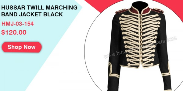 Hussar Twill Marching Band Jacket Black