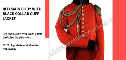 RED MAIN BODY WITH BLACK COLLAR CUFF JACKET