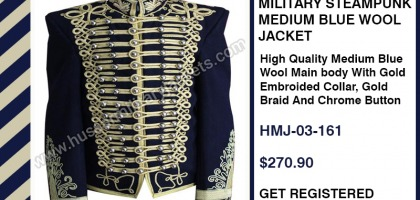 MILITARY STEAMPUNK MEDIUM BLUE WOOL JACKET