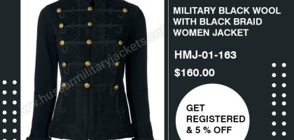 MILITARY BLACK WOOL WITH BLACK BRAID WOMEN JACKET